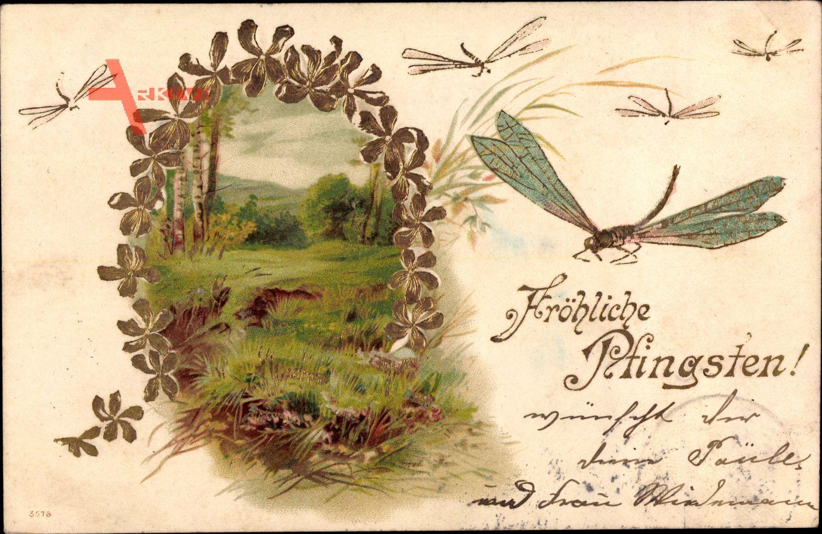 Glückwunsch Pfingsten, Libellen, Frühling, Birken