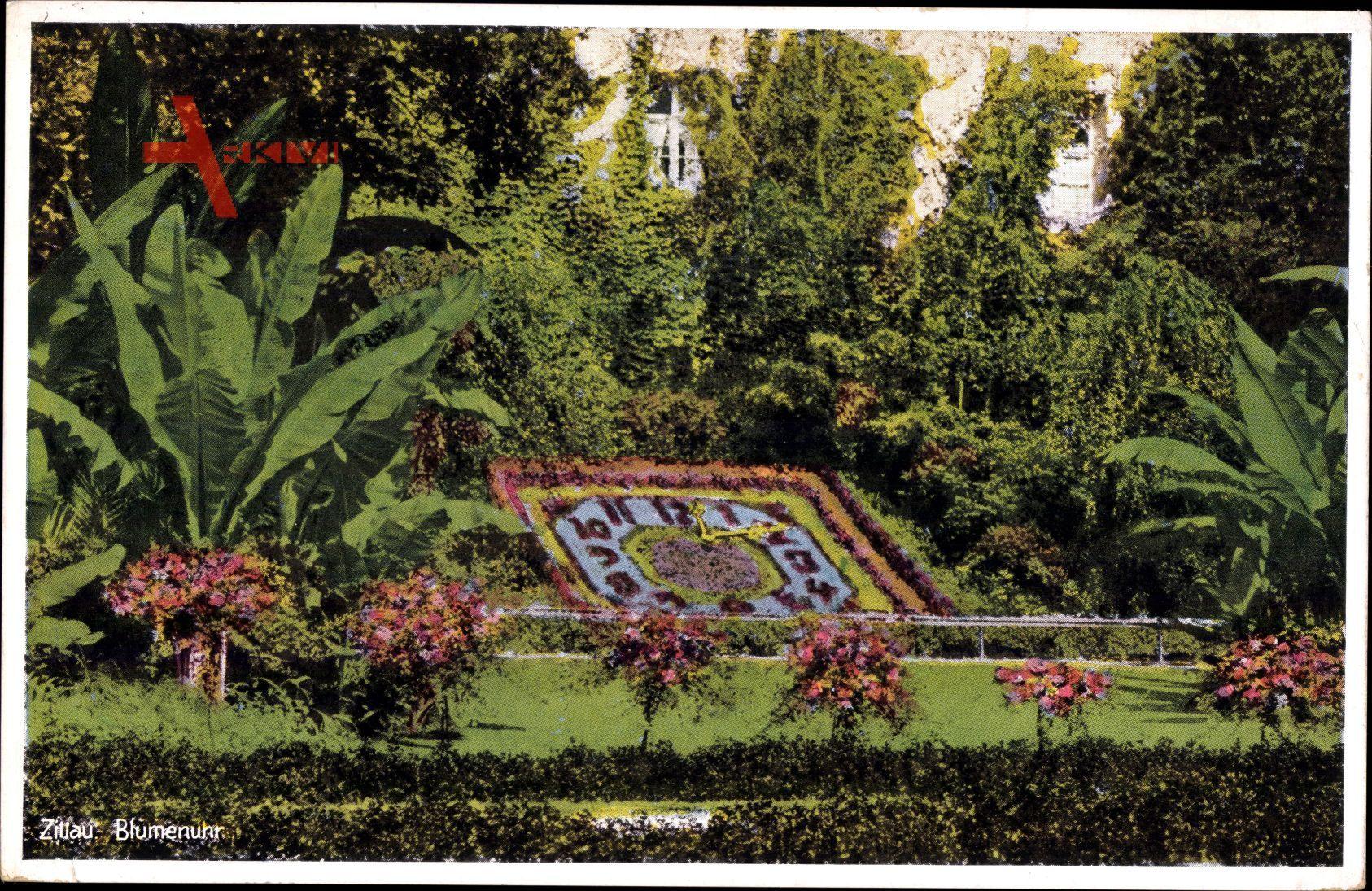 Zittau in der Oberlausitz, Blick auf die Blumenuhr an der Stadtgärtnerei