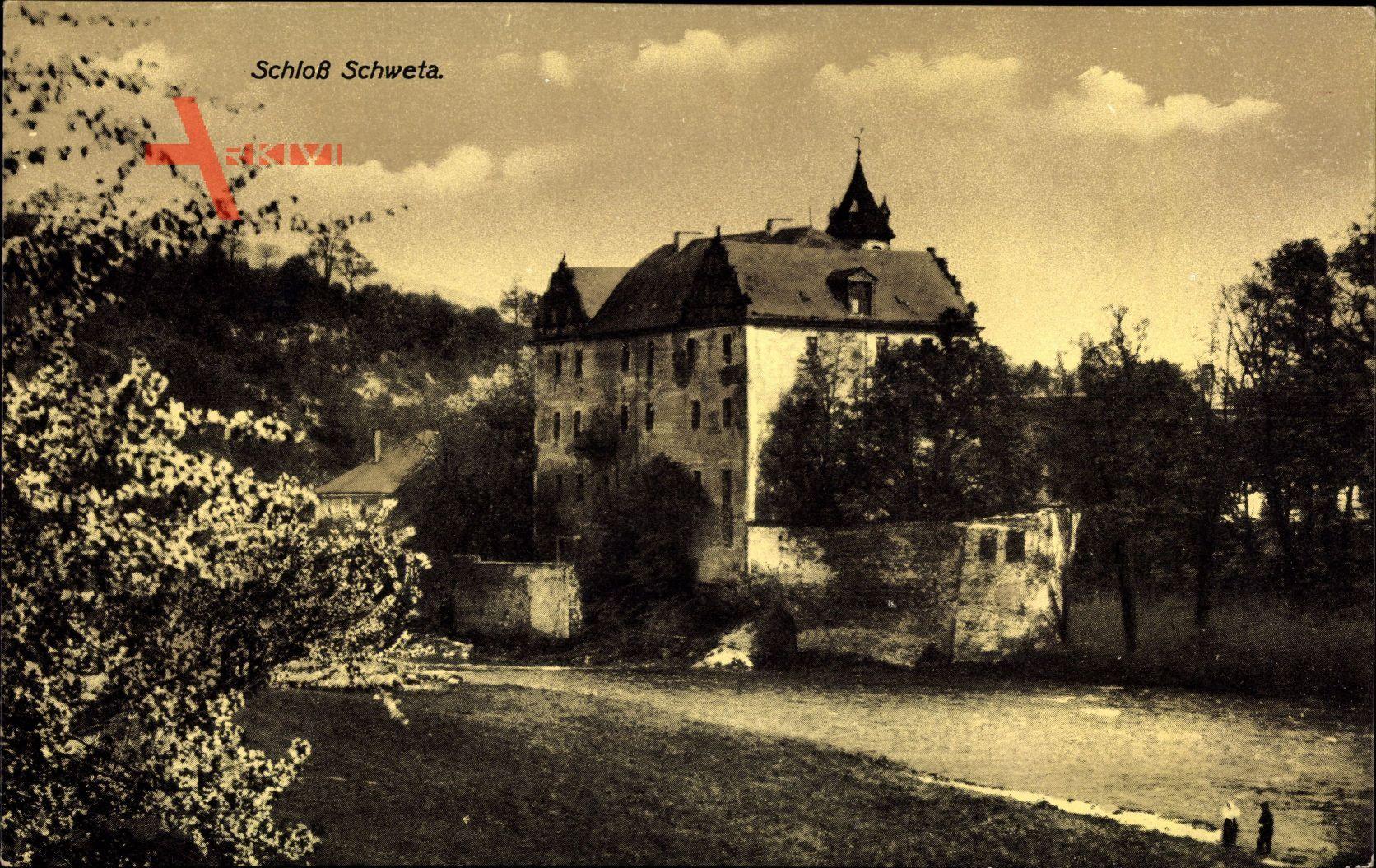 Schweta Döbeln, Blick auf das Schloss, Kirschblüten