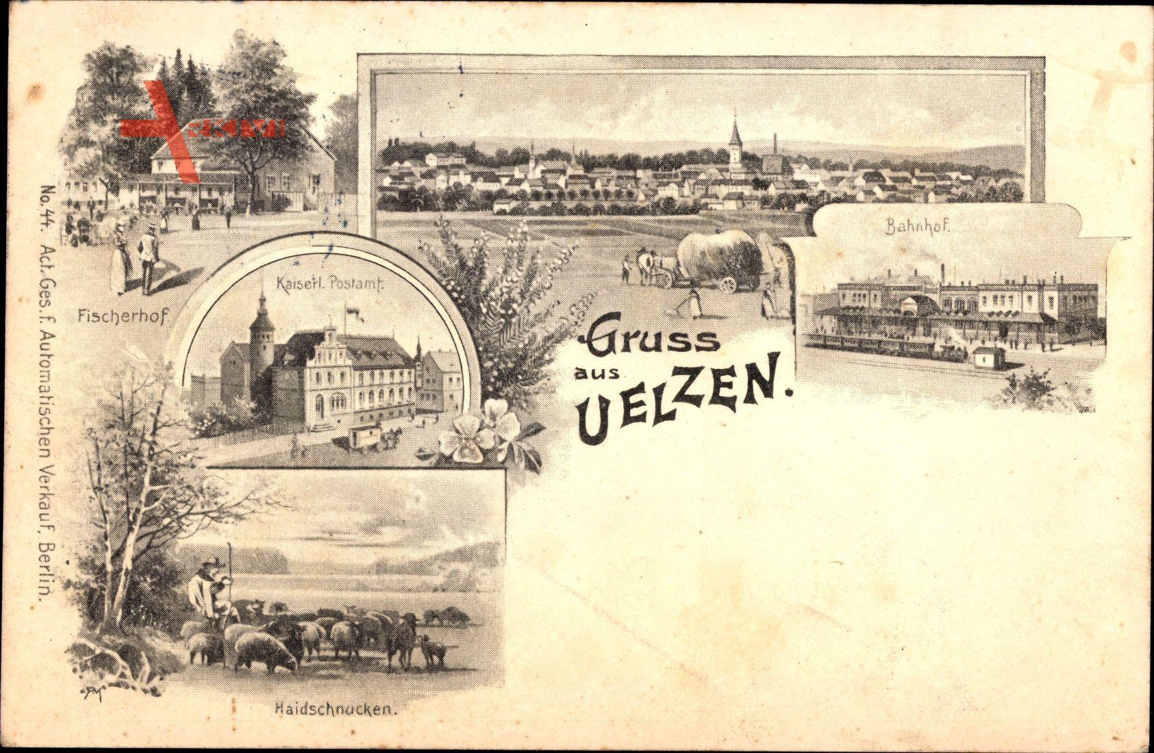 Uelzen in Niedersachsen, Fischerhof, Kaiserl. Postamt, Bahnhof, Totalansicht