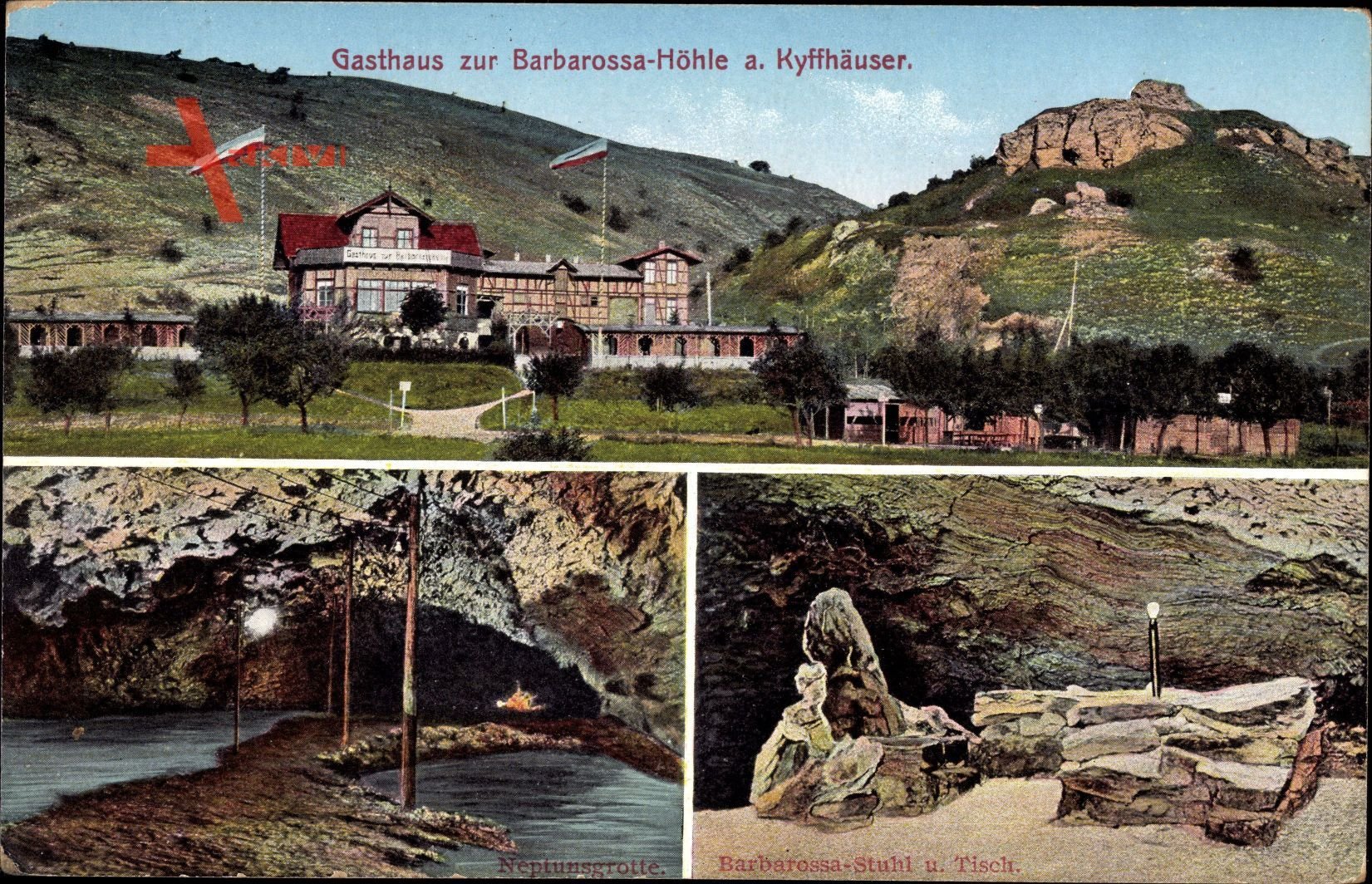 Kyffhäuserland in Thüringen, Gasthaus zur Barbarossa Höhle, Neptunsgrotte