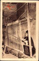 Algerien, Teppichweberin bei der Arbeit, Femme indigène au métier