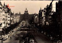 Praha Prag, Wenzelsplatz, Reiterdenkmal, Verkehr
