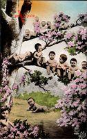 Kinder im Freien, Frühling, Frankreich, Baumblüte, Fotomontage
