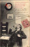 LEmpoyé dAdministration, Beamter, Zigarre rauchend, Wenig Arbeit