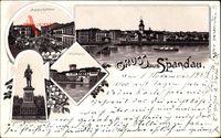 Berlin Spandau, Marktplatz, Rathaus, Juliusturm, Kaiser Friedrich Denkmal
