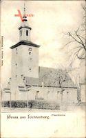 Berlin Lichtenberg, Straßenpartie mit Blick auf die Pfarrkirche, Glockenturm