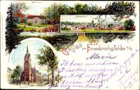 Berlin Lichtenberg Friedrichsfelde, Panoramablick, Schloss und Kirche