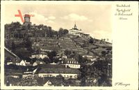Radebeul, Blick auf das Spitzhaus und den Bismarckturm, Häuser
