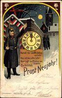 Glückwunsch Neujahr, Wachposten bei Nacht, Ziffernblatt, Mitternacht