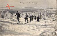 Erzgebirge Region Karlsbad, Aufstieg zum Keilberg, Skifahrer
