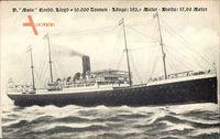 Dampfschiff Main, Norddeutscher Lloyd Bremen, In Fahrt