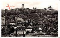Radebeul, Blick auf den Ort und zum Spitzhaus, A. Fischer, Turm, Fachwerkhaus