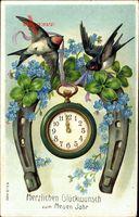 Glückwunsch Neujahr, Hufeisen, Taschenuhr, Kleeblätter, Schwalben