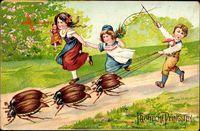 Glückwunsch Pfingsten, Kinder spielen mit Maikäfern
