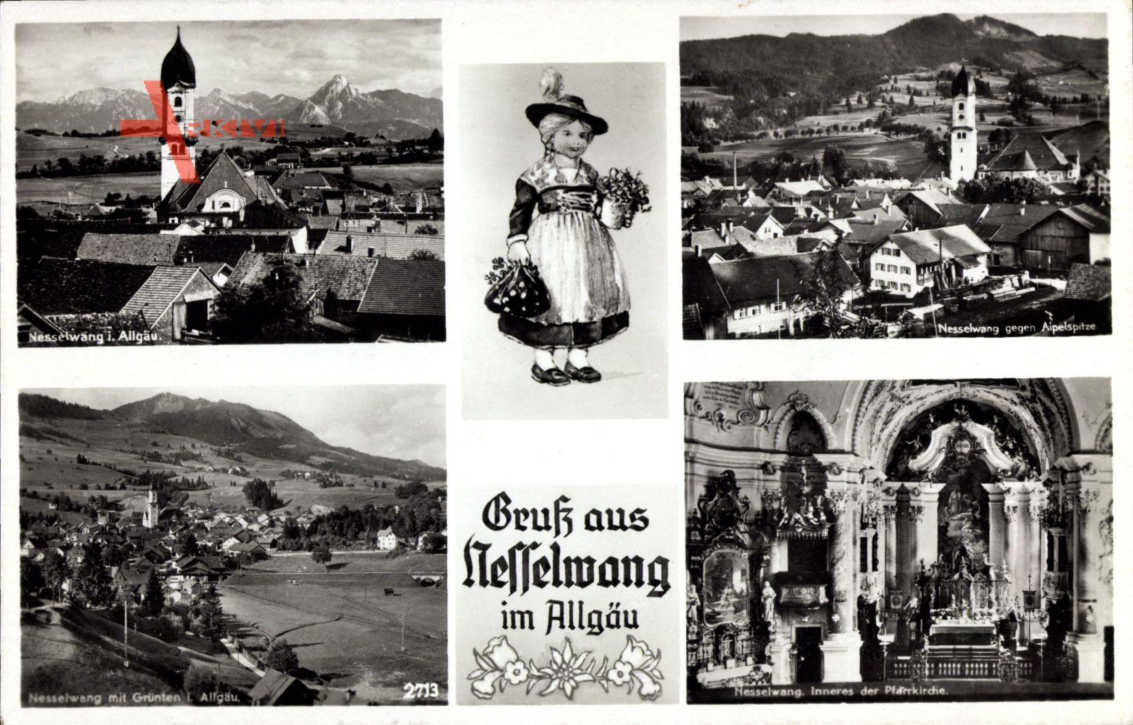 Nesselwang im schwäbischen Kreis Ostallgäu, Blick auf den Ort, Tracht, Kirche