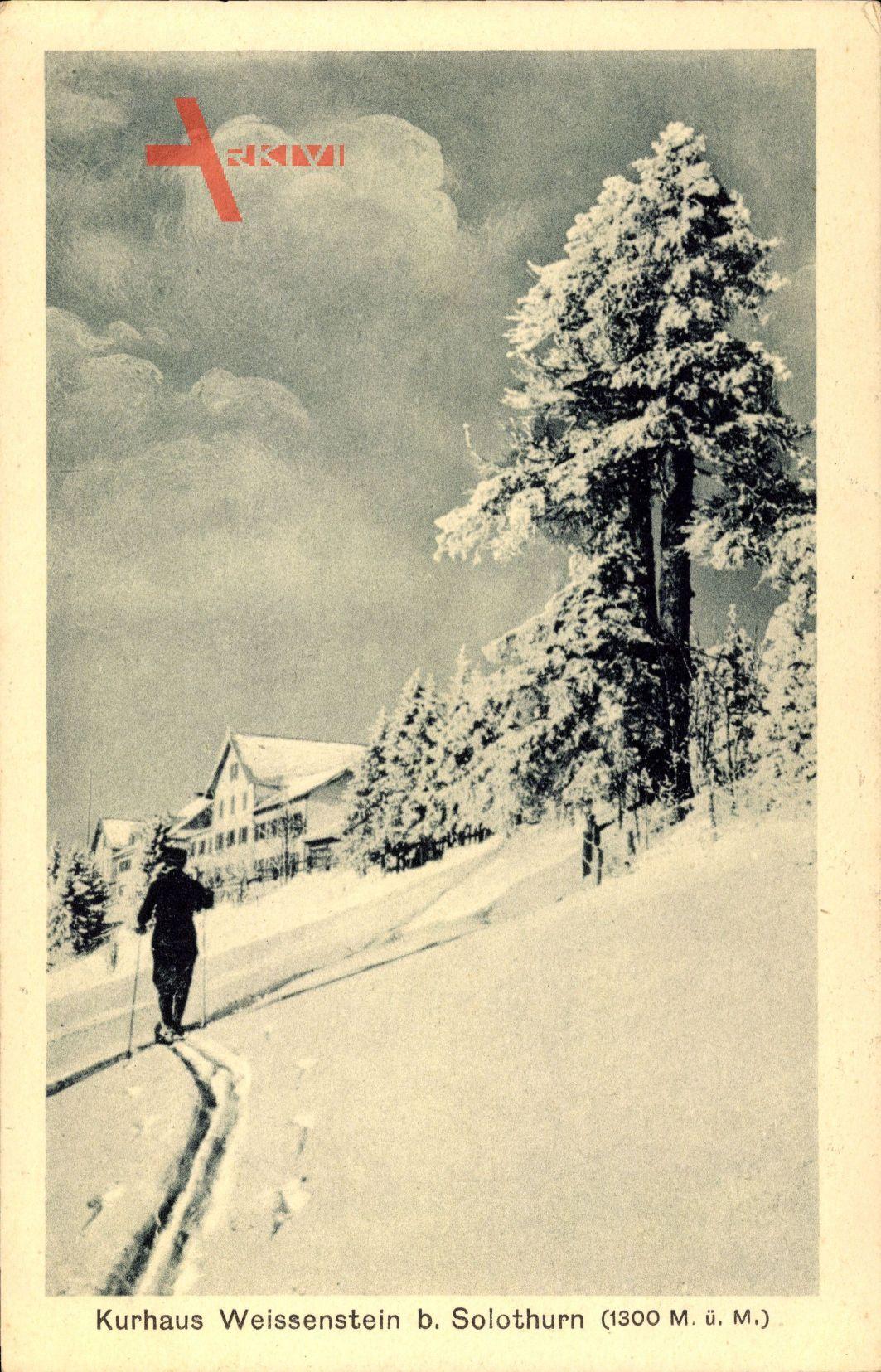 Solothurn Schweiz, Blick auf das Kurhaus Weissenstein, Schnee, Skifahrer