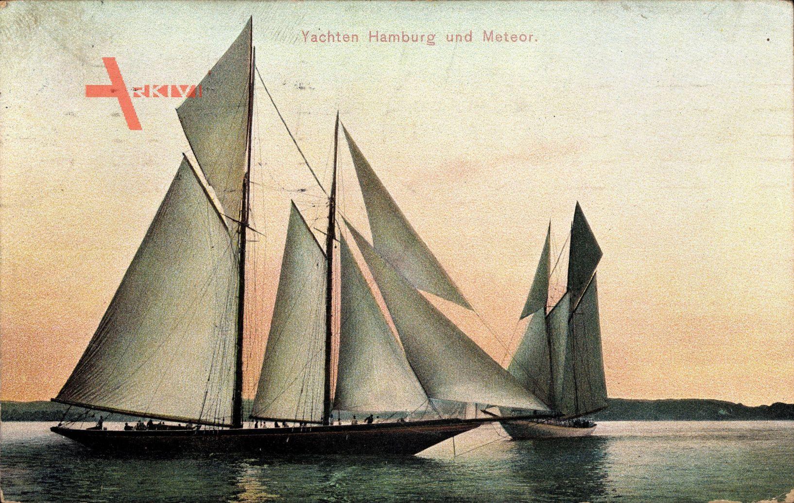 Zwei Yachten, Hamburg und Meteor, Zweimaster, Dämmerung