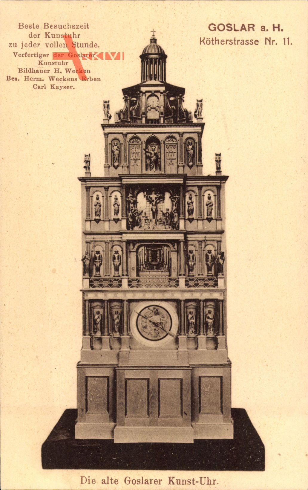 Goslar in Niedersachsen, Die alte Goslarer Kunst Uhr, Kötherstraße 11