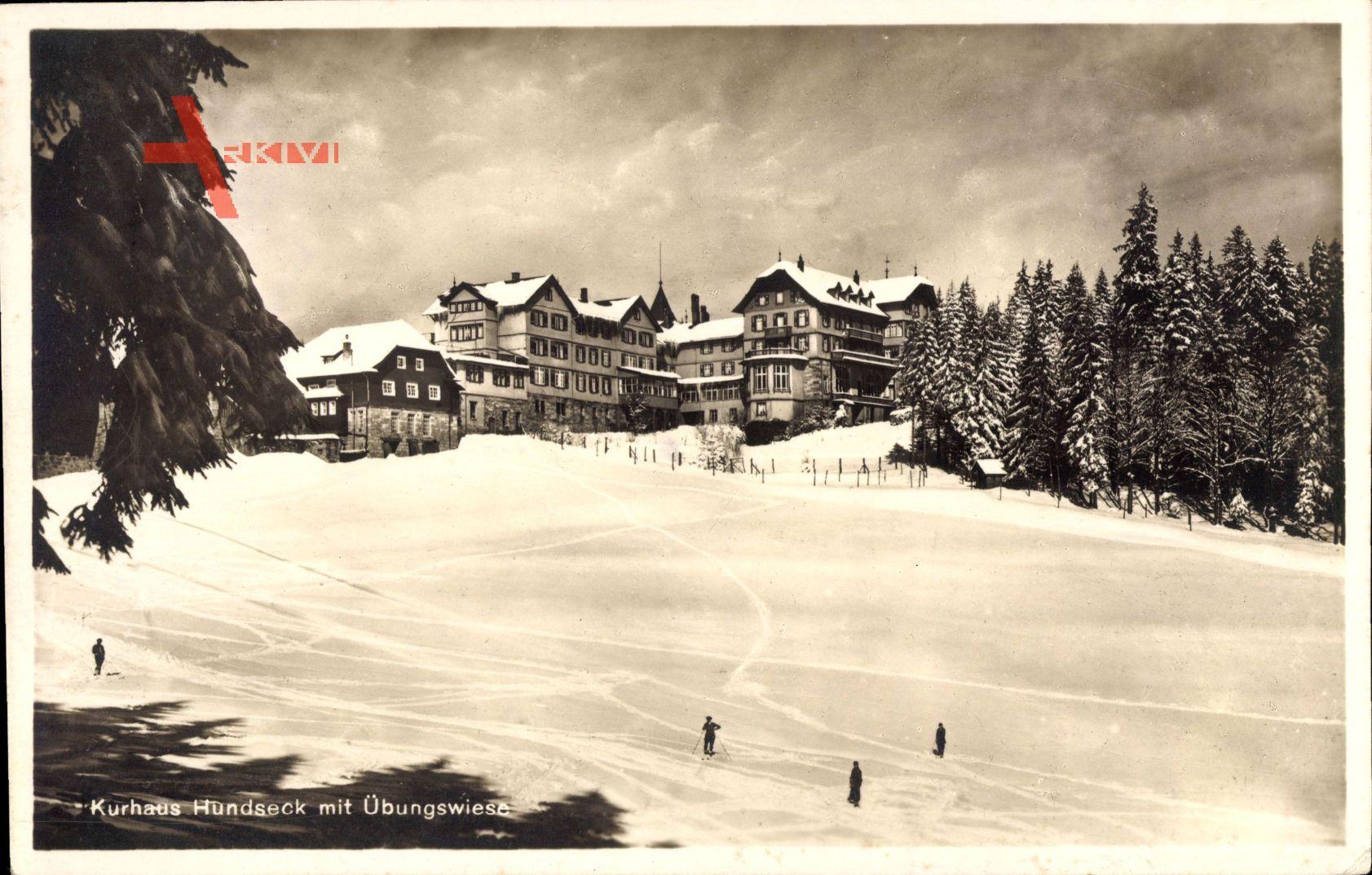 Hundseck Ottersweier, Blick aufs Kurhaus mit Übungswiese, Wintersport,Schnee