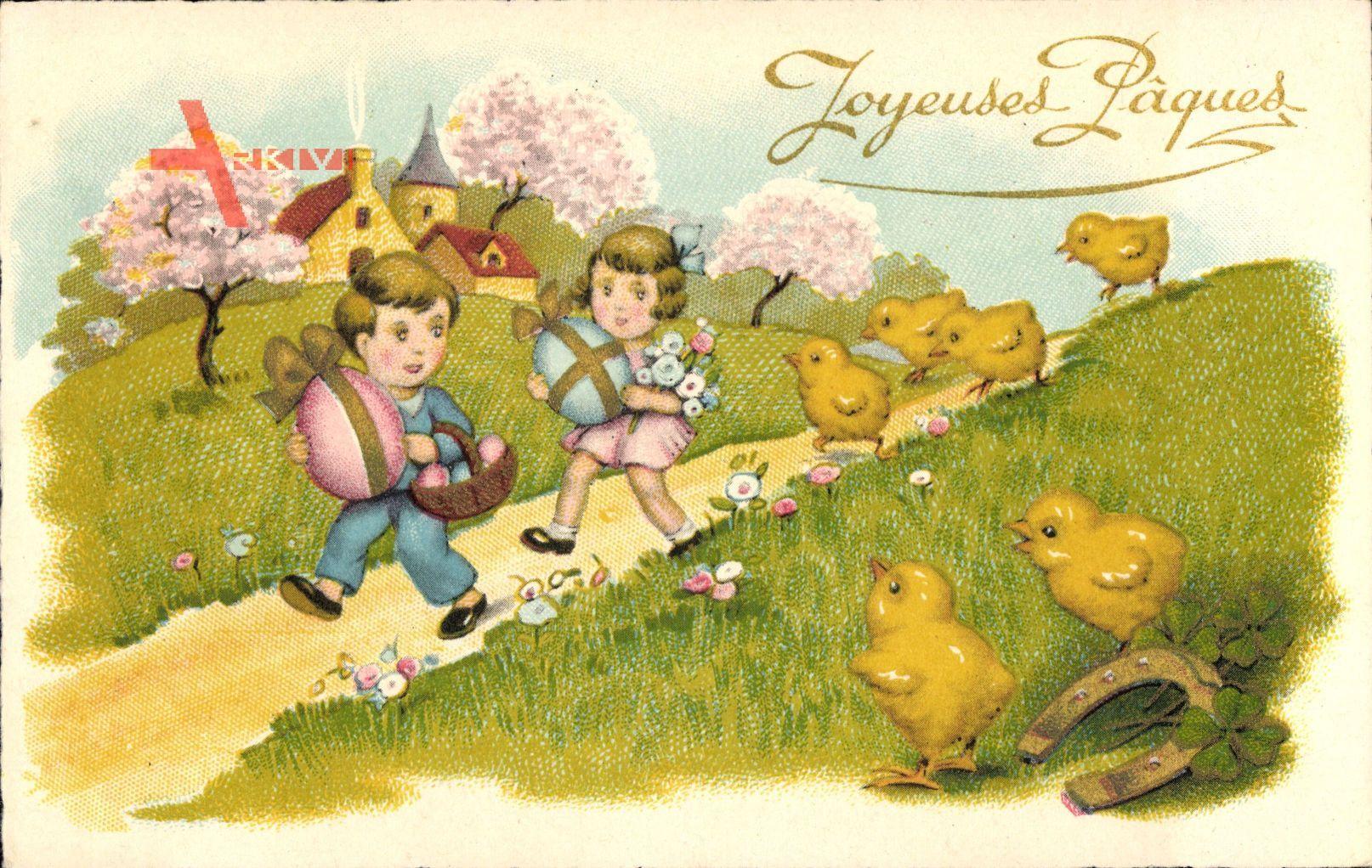 Glückwunsch Ostern, Küken, Ostereier, Kinder, Kirche, Frühling