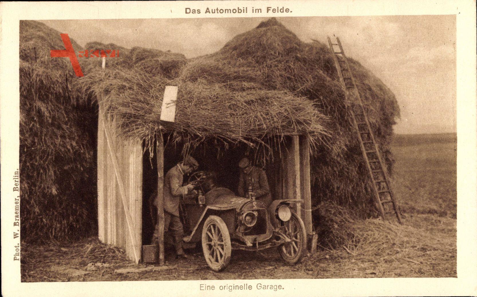 Das Automobil im Felde, Orginelle Garage, Scheune, Strohdach