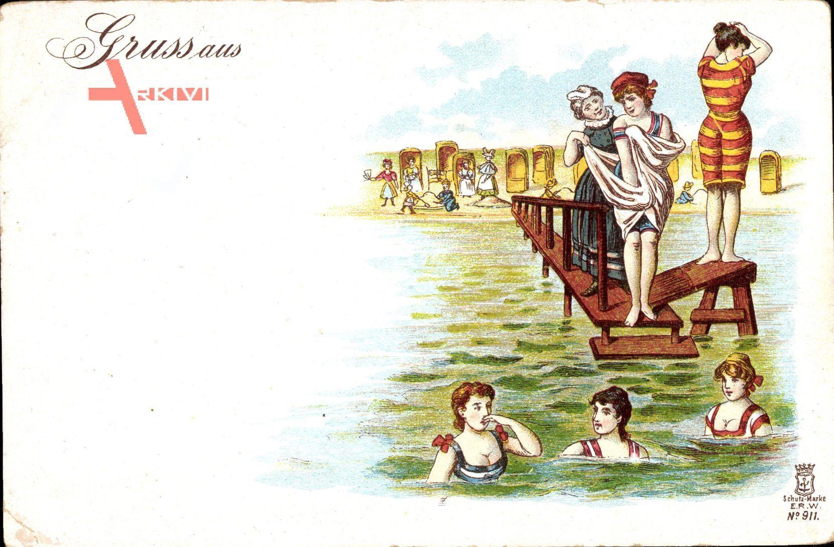 Frauenstrand, Mädchen in Badekleidern, Steg, Strandkörbe