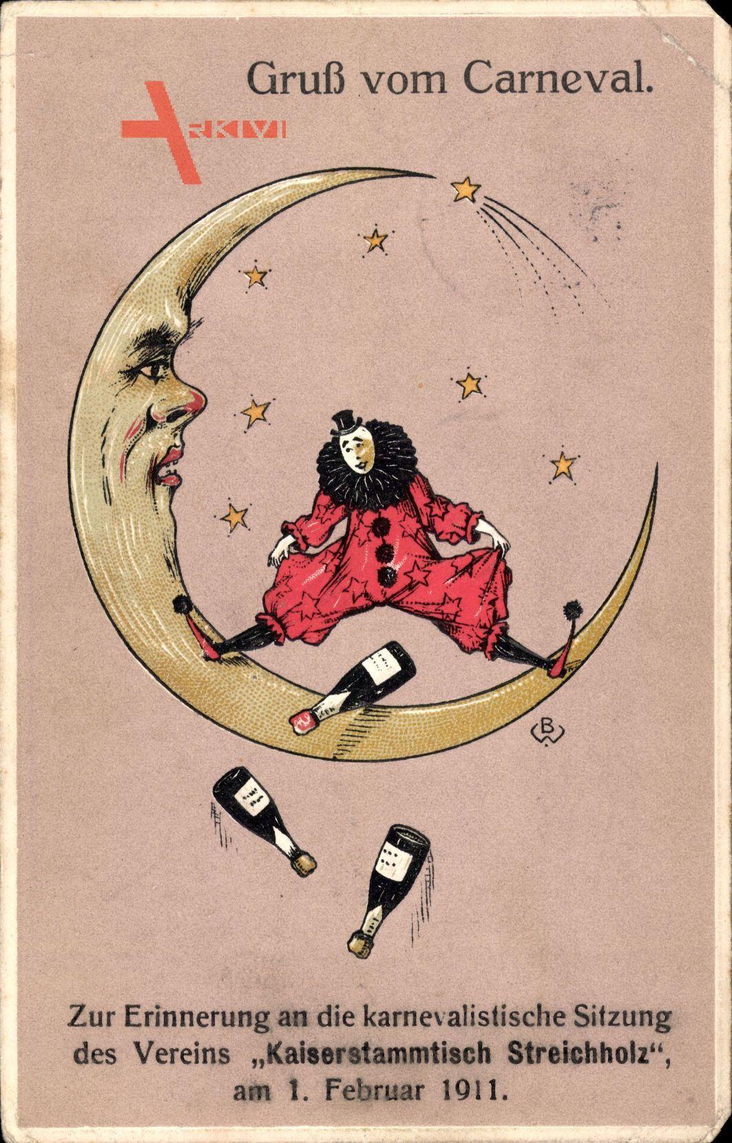 Gruß vom Karneval, Kaiserstammtisch Streichholz 1911, Mond, Sterne