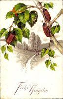 Glückwunsch Pfingsten, Maikäfer sitzen auf einem Birkenast