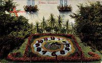 Zittau Sachsen, Ansicht einer Blumenuhr, Hausfenster mit Blumenkästen