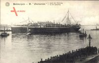 Antwerpener Hafen, Dampfschiff Gneisenau, Norddeutscher Lloyd Bremen