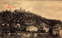 Radebeul, Blick auf Berggasthaus Friedensburg