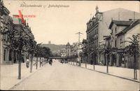 Kötzschenbroda Radebeul, Blick in die Bahnhofstraße, Häuser, Radfahrer