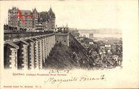 Québec Kanada, Chateau Fontenac from Terrasse, Pavillon, Häuser