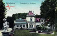 Berlin Pankow, Bürgerpark mit Restaurant, Engelsstatue