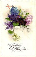 Glückwunsch Pfingsten, Maikäfer, Blumen, Lavendel, EAS 5662