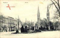 Berlin Pankow, Straßenpartie mit Blick auf die Kirche, Brunnen