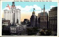 New York USA, Municipal Building, Newspaper Row and City Hall Park