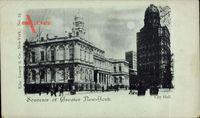 Mondschein New York USA, City Hall, Blick auf Stadthäuser