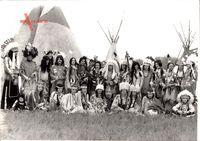 Indianer, Gruppenfoto, Squaw, Häuptlinge, Kinder, Zelte, Tipis