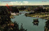 Berlin Zehlendorf West, Blick auf den Waldsee, Brücke, Insel im See