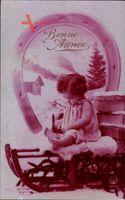 Glückwunsch Neujahr, Kind auf einem Schlitten sitzend, Hufeisen