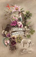 Glückwunsch, Porte Bonheur, 13, Schwarze Katze, Klee, Elefant, Hufeisen