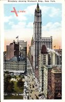 New York City USA, Broadway showing Woolworth Building