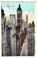 New York City USA, Singer Building and the World's Highest Towers
