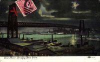 New York City, East River Bridges, Brücke über den Fluss bei Nacht