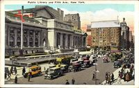 New York City USA, Public Library and Fifth Avenue
