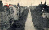 Berlin Pankow Rosenthal, Blick in die Lindenallee, Schornsteine, Häuser