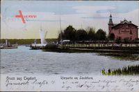 Berlin Reinickendorf Tegel, Uferpartie am Leuchtturm, Segelboot
