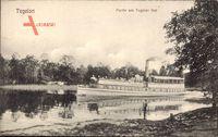 Berlin Reinickendorf Tegel, Partie am Tegeler See mit Dampfschiff